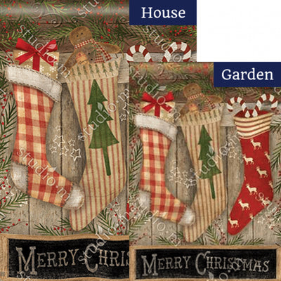 Christmas Stockings Festive Double Sided Flags Set (2 Pieces)