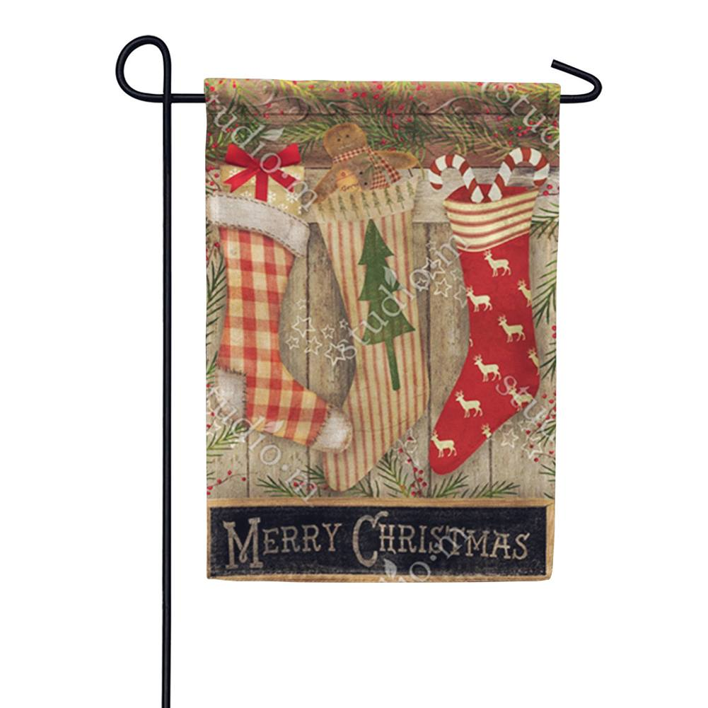 Christmas Stockings Festive Double Sided Garden Flag