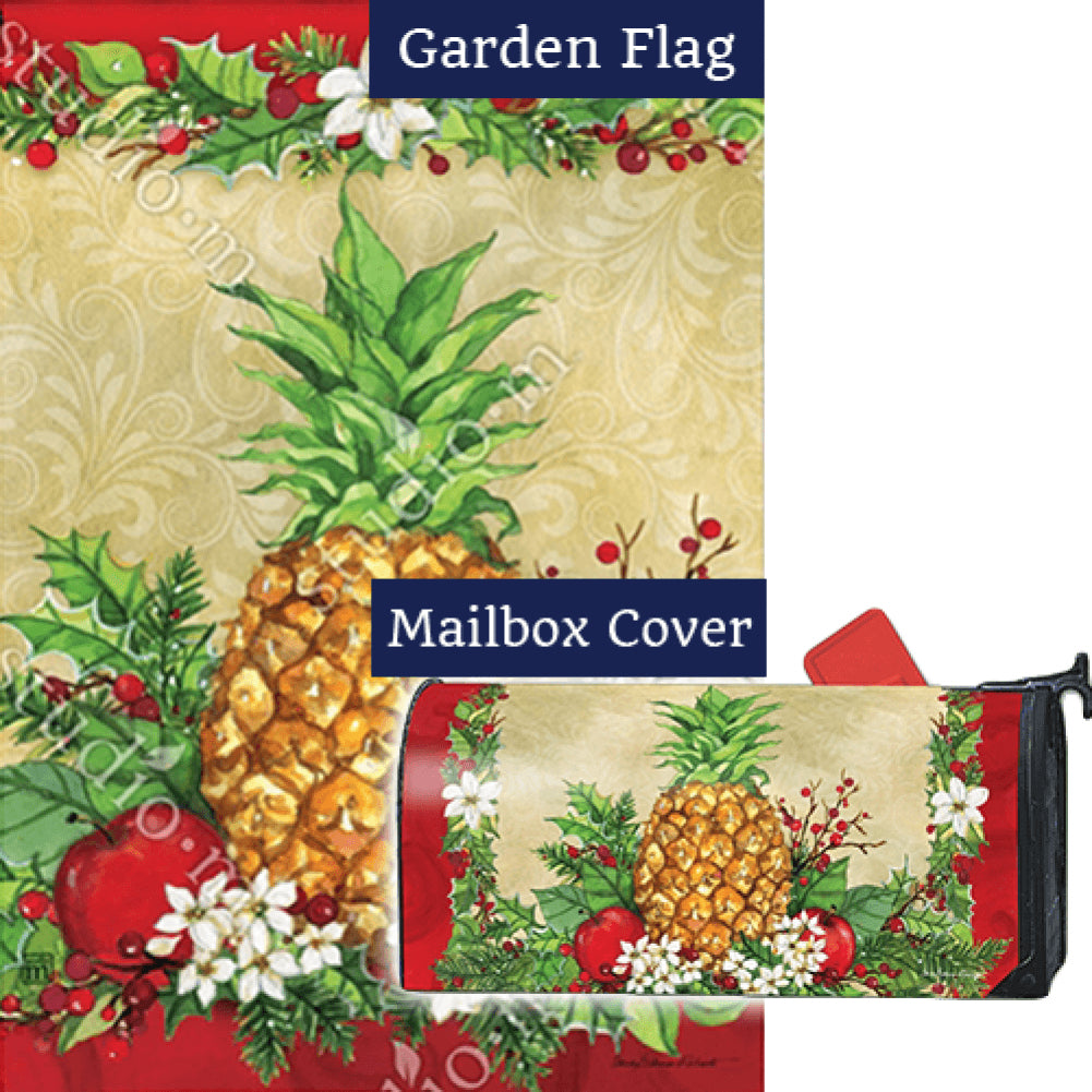 Holiday Pineapple Holly Flag Mailwrap Set (2 Pieces)