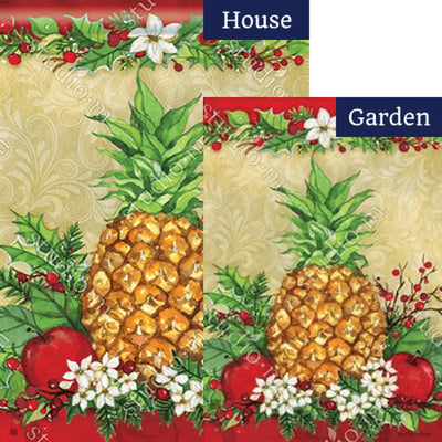 Holiday Pineapple Holly Flags Set (2 Pieces)