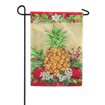 Holiday Pineapple Holly Garden Flag