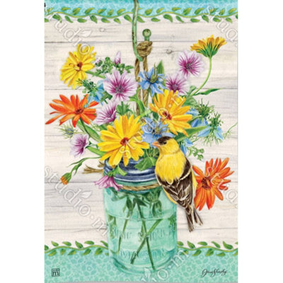 Goldfinch on Jar Garden Flag
