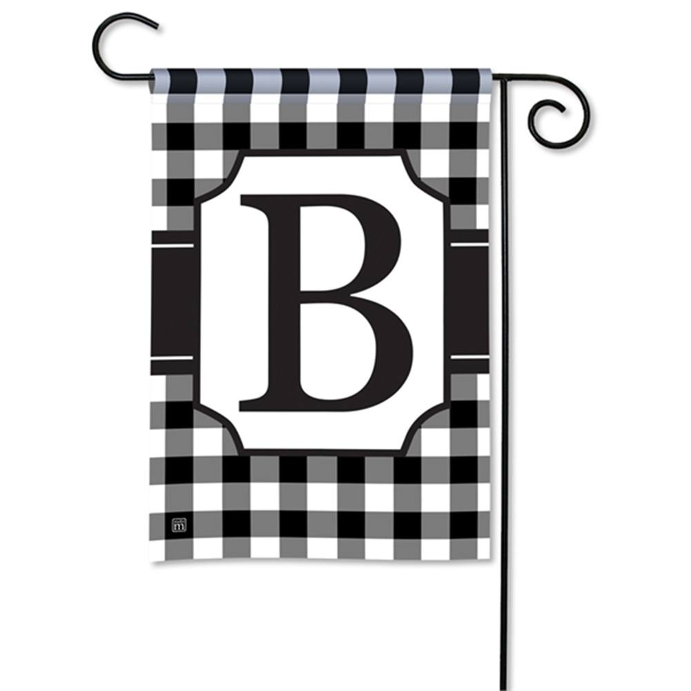 Black And White Checkered Monogram Garden Flag