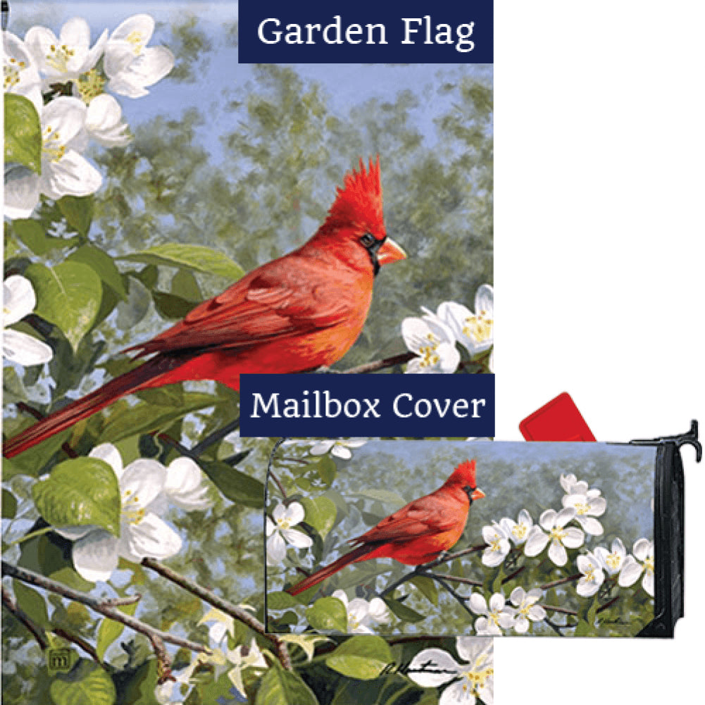 Cardinal in Blossoms Flag Mailwrap Set (2 Pieces)