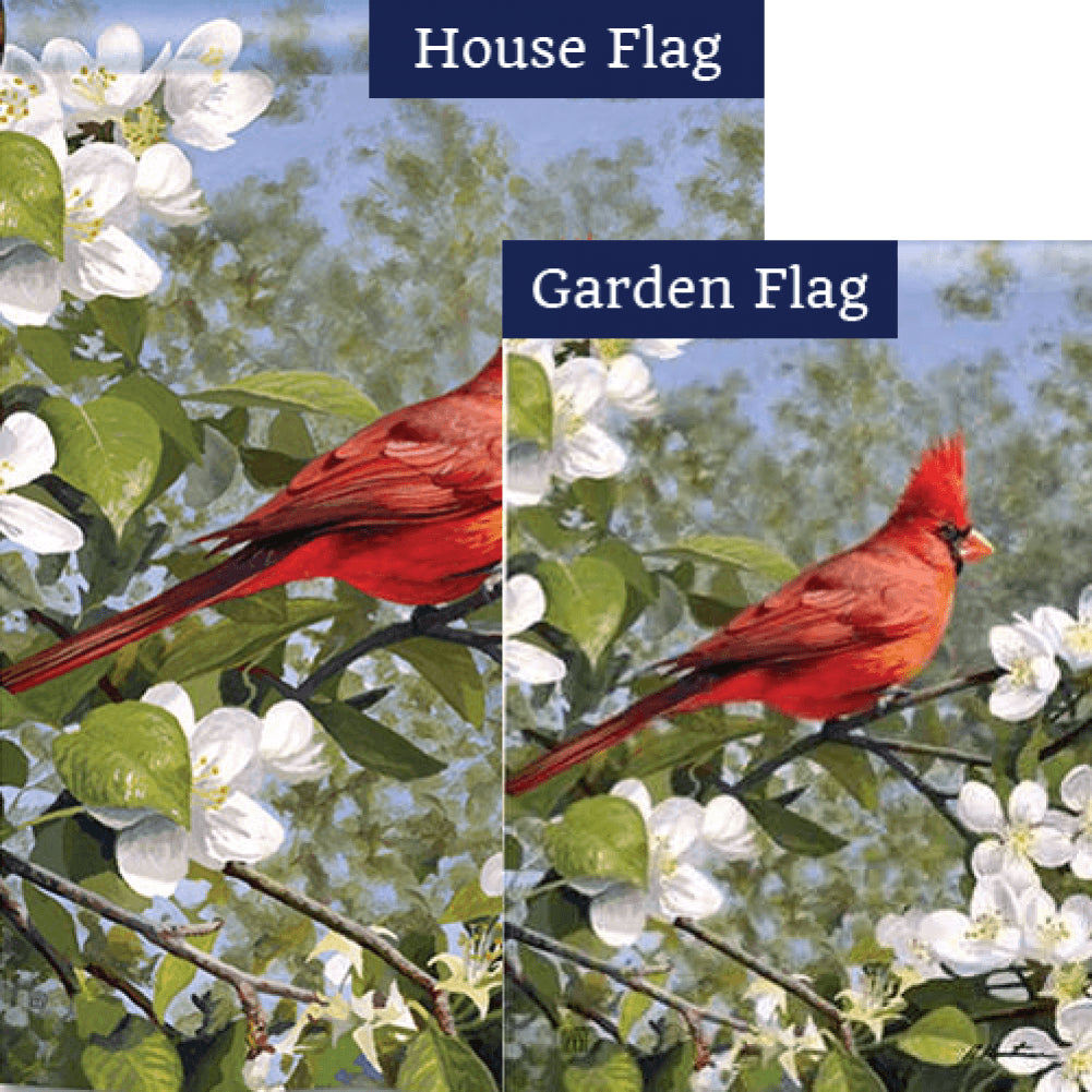 Cardinal in Blossoms Flags Set (2 Pieces)