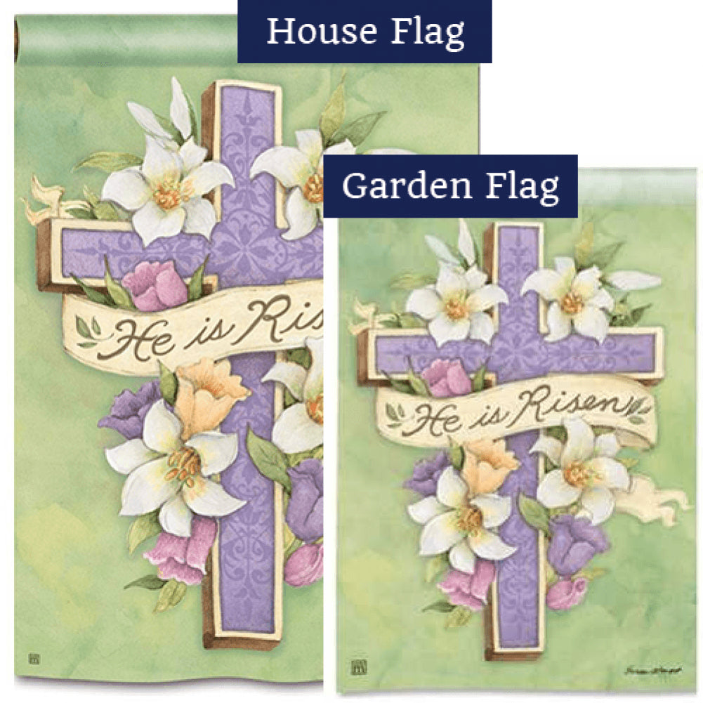 Easter Cross Risen Flags Set (2 Pieces)