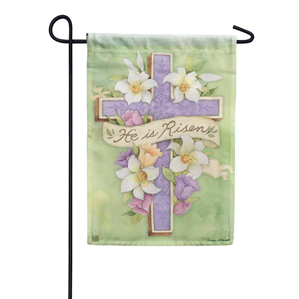 Easter Cross Risen Garden Flag
