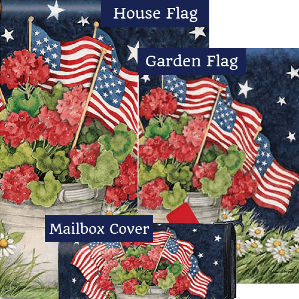 Geraniums With Flags Yard Makeover Set (3 Pieces)