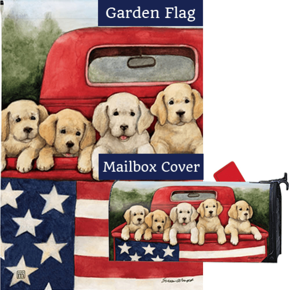 Patriotic Puppies Red Truck Flag Mailwrap Set (2 Pieces)