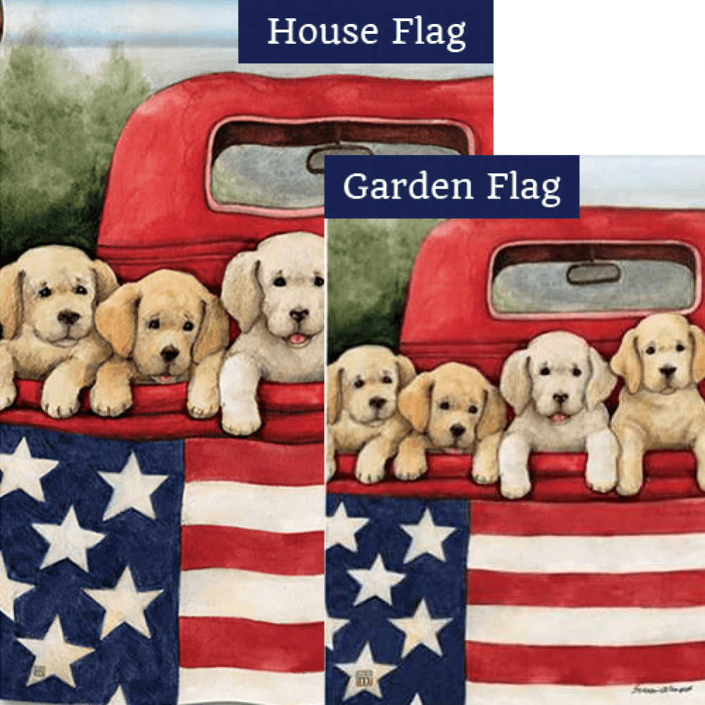 Patriotic Puppies Red Truck Flags Set (2 Pieces)