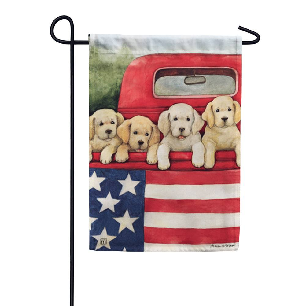 Patriotic Puppies Red Truck Garden Flag