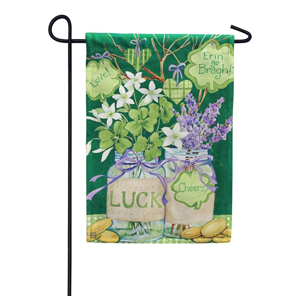 Lucky Shamrocks Mason Jar Garden Flag