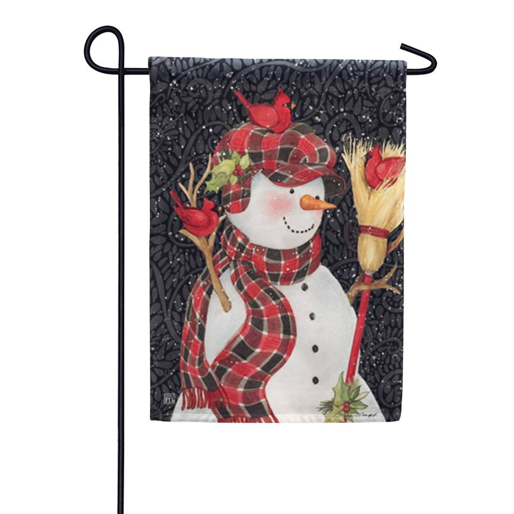 Snowman with Broom Garden Flag