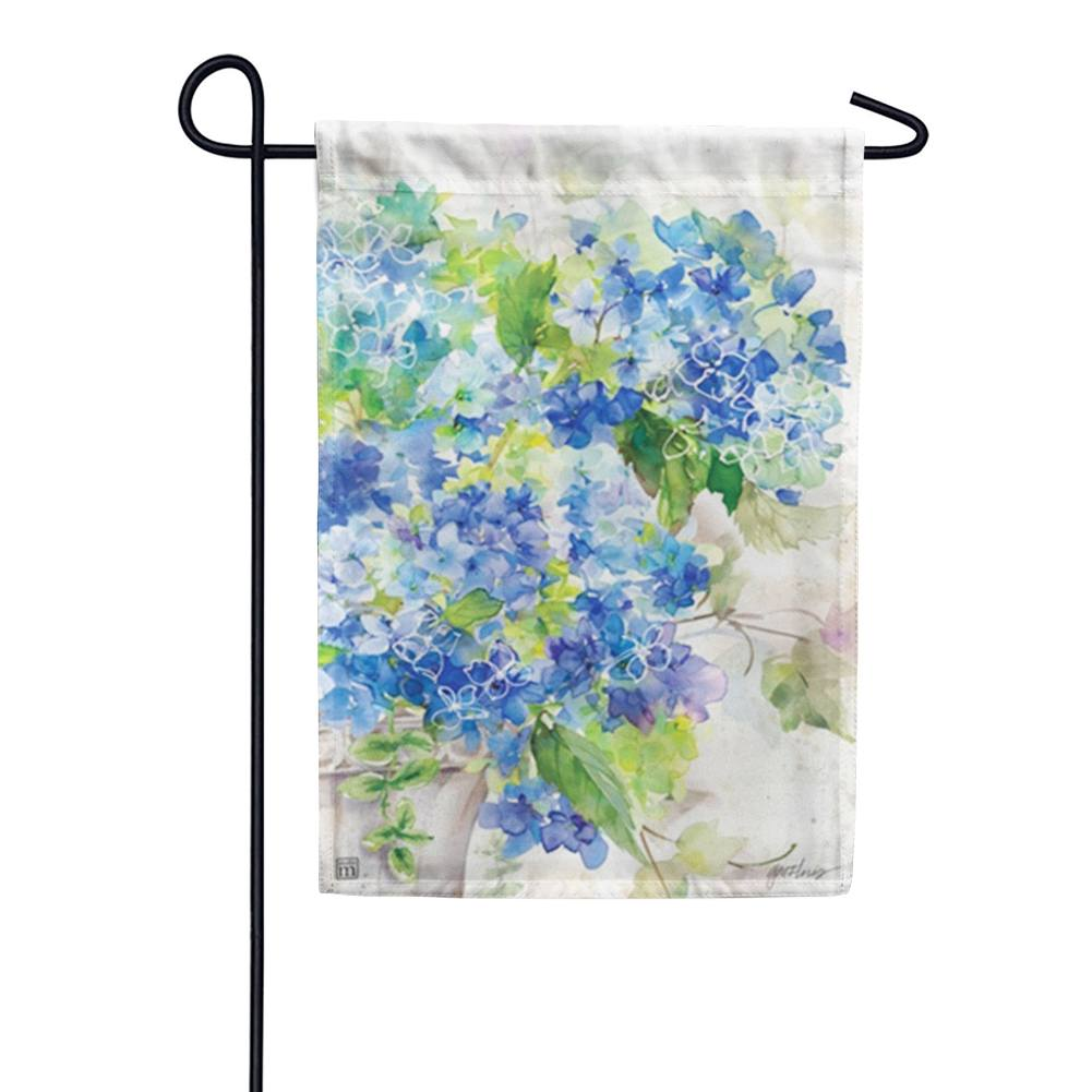 Blue Hydrangeas Watercolor Garden Flag