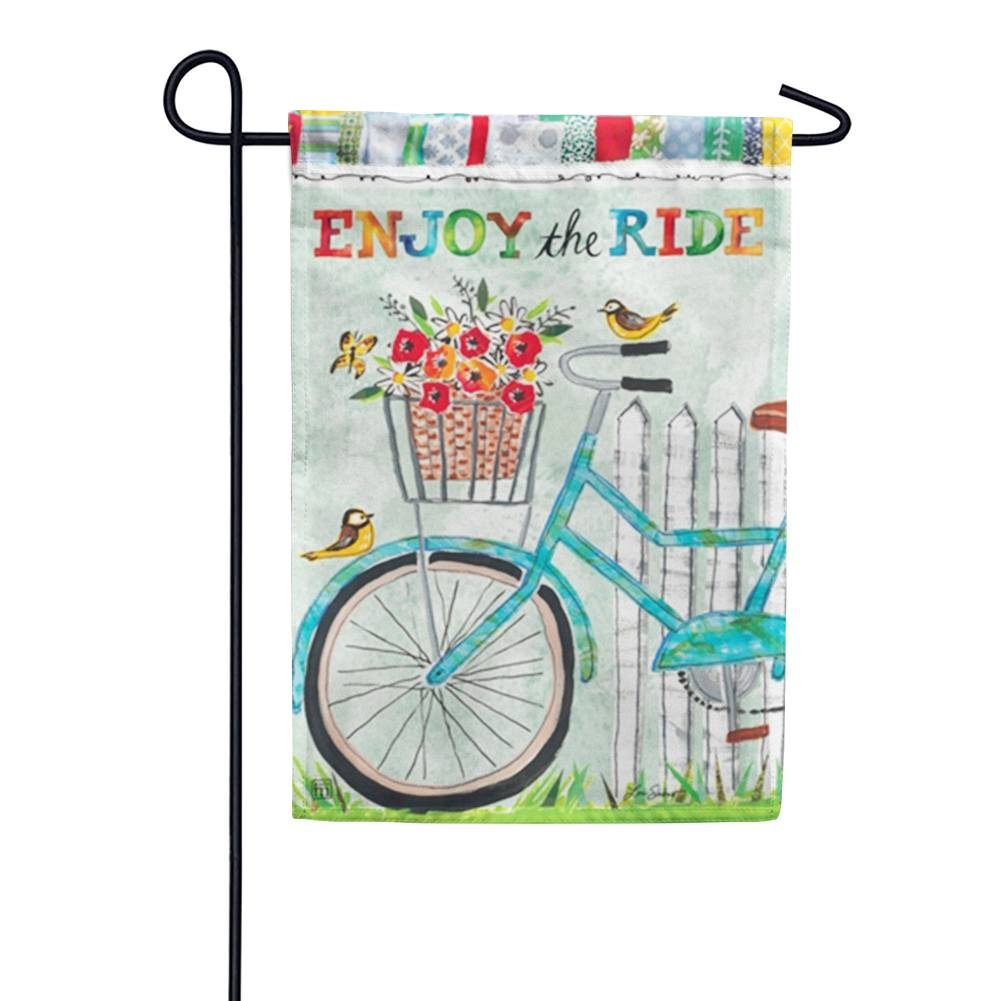 Enjoy the Ride Floral Bicycle Garden Flag