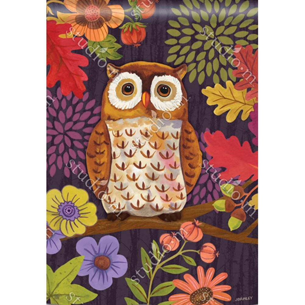 Floral Owl Leaves House Flag