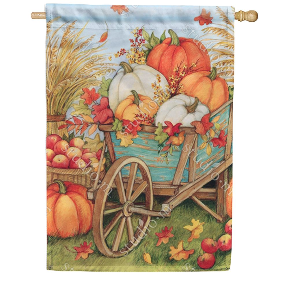 Pumpkin Wagon House Flag