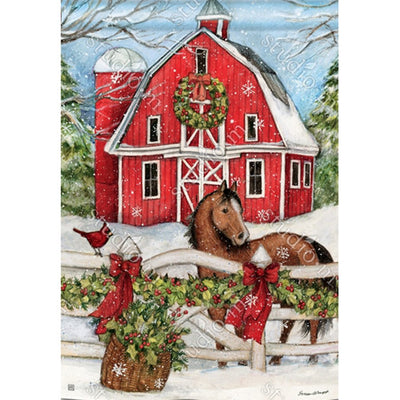 Christmas on the Farm House Flag