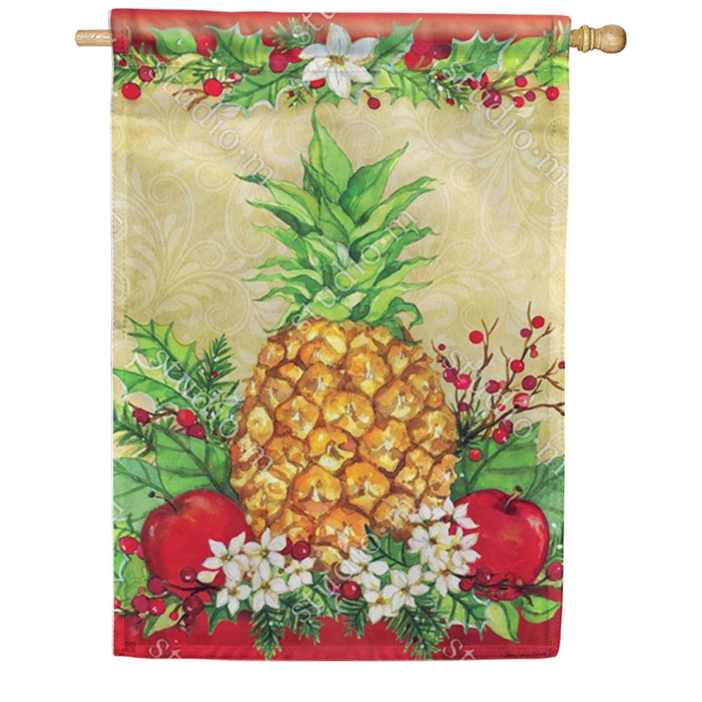 Holiday Pineapple Holly House Flag