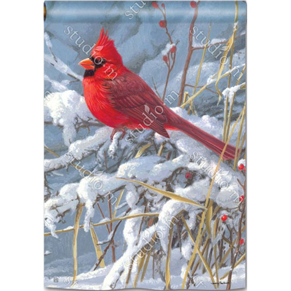 Cardinal In Snow House Flag
