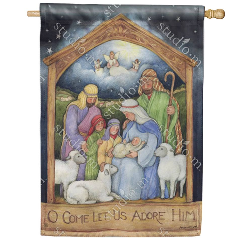 Holy Family Nativity House Flag