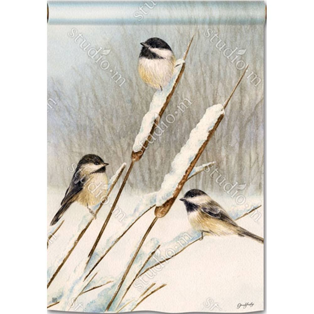Cattail Chickadees House Flag