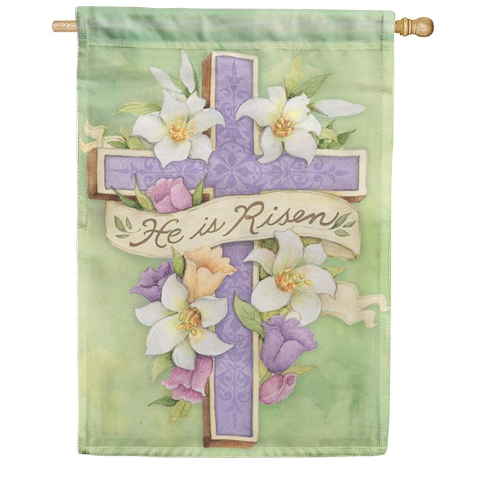Easter Cross Risen House Flag