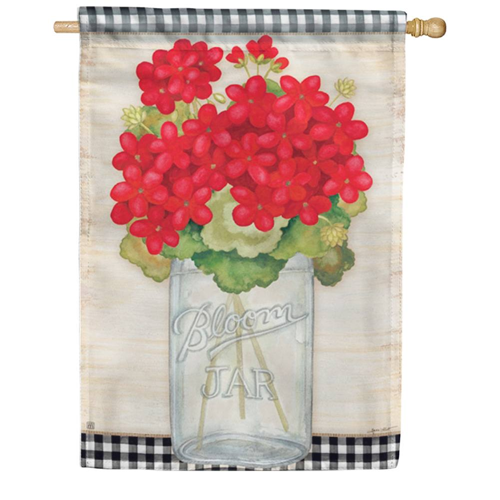 Geranium Blooms House Flag