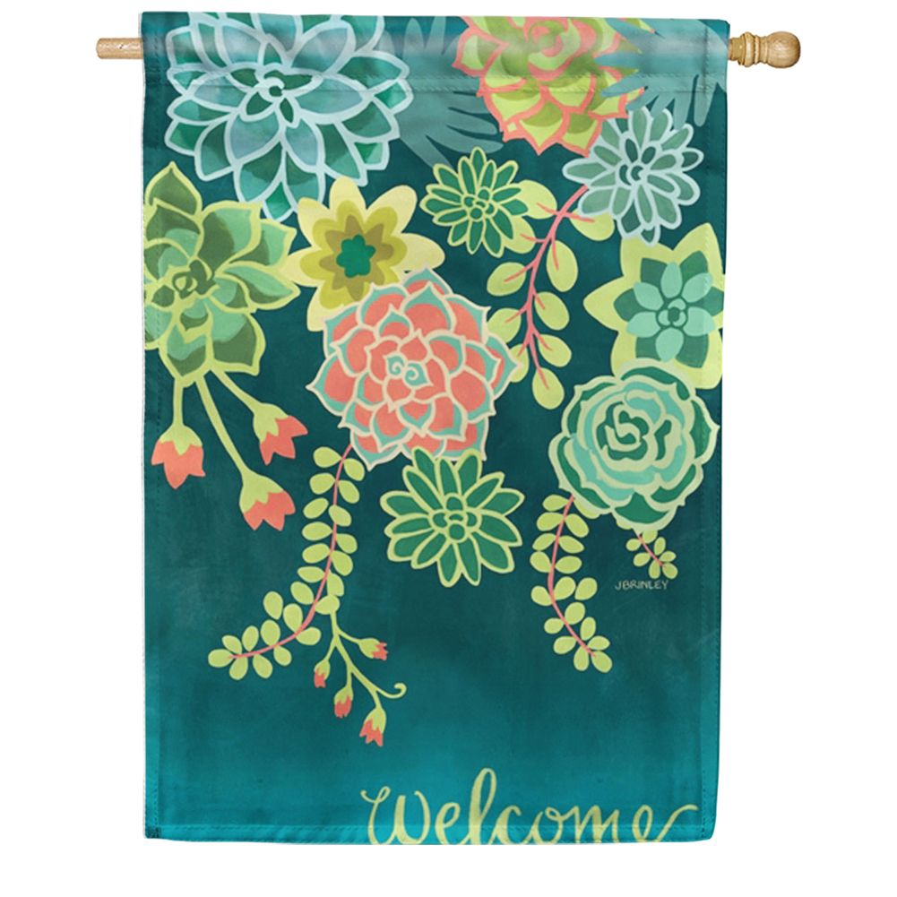 Boho Succulents House Flag