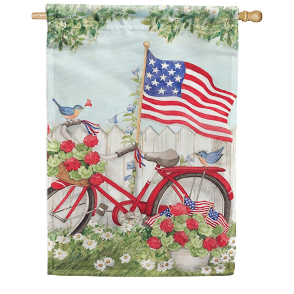 Patriotic Bike American Flag House Flag