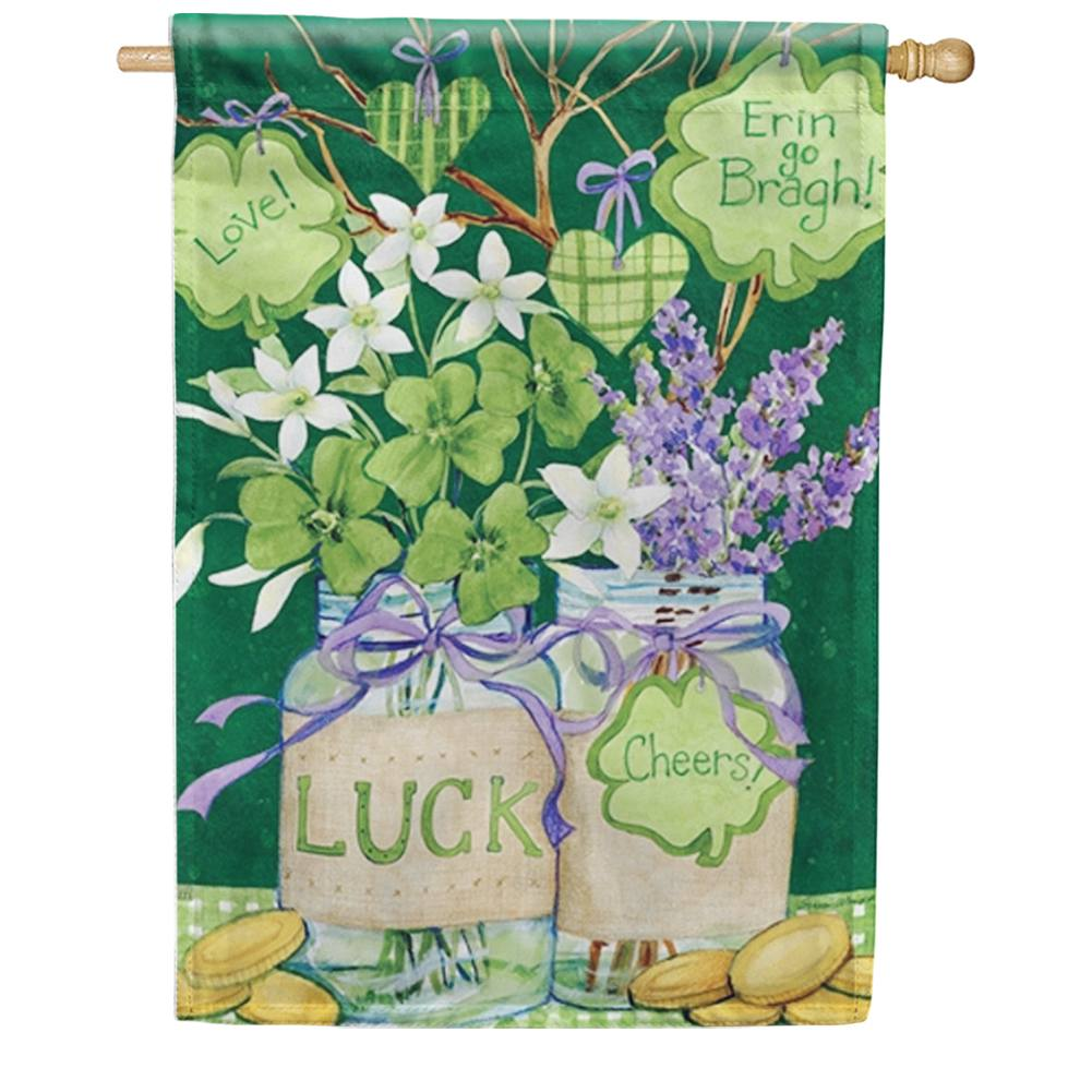 Lucky Shamrocks Mason Jar House Flag