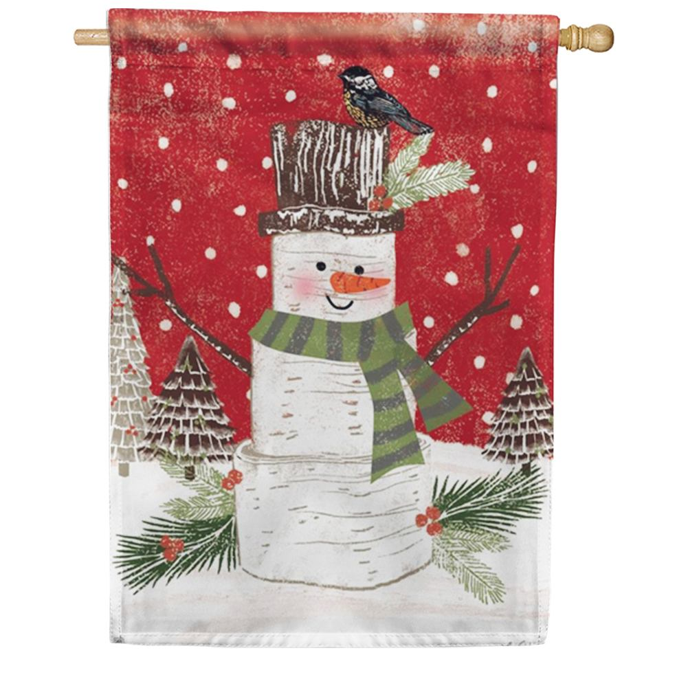 Woodsy Snowman Friend House Flag