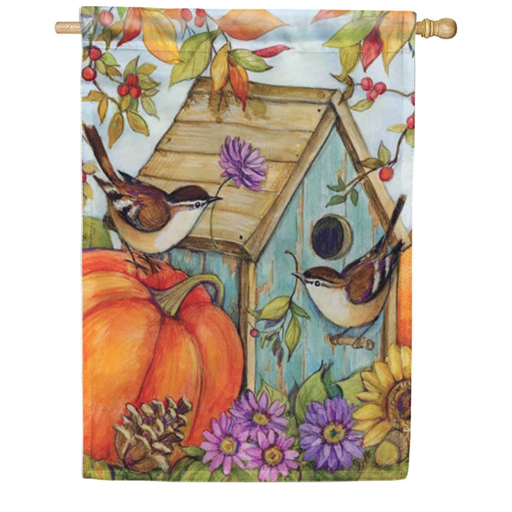 Autumn Birdhouse Chickadees House Flag