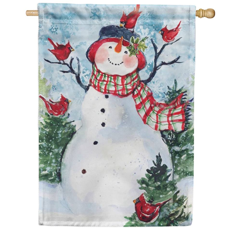Snowman Cardinal Friends House Flag