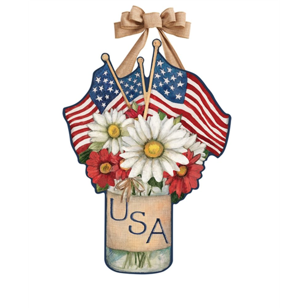 USA Mason Jar Door Decor