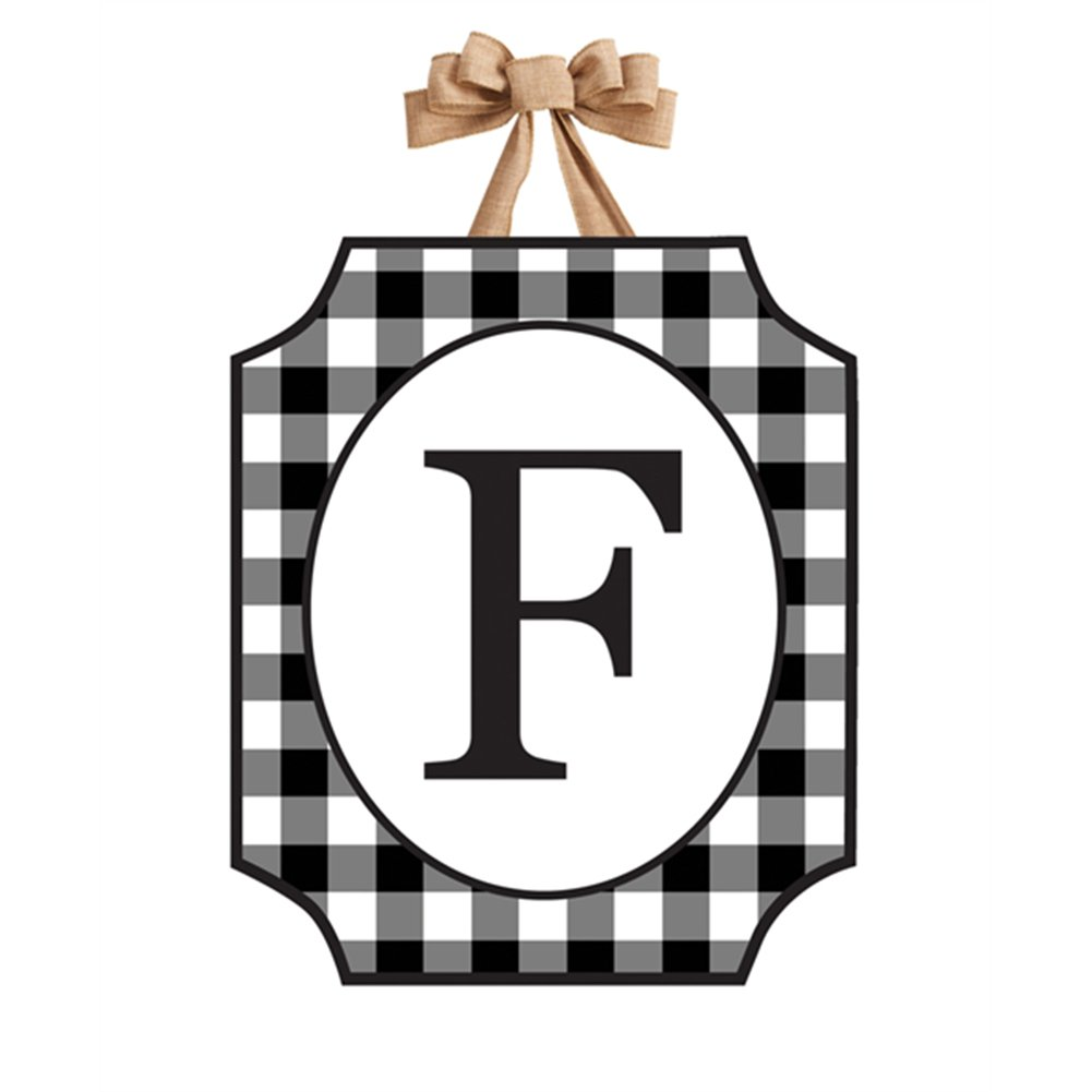 Black And White Checkered Monogram Door Décor