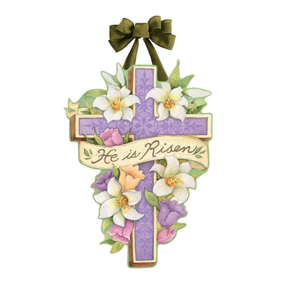 Easter Cross Risen Door Decor
