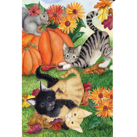 Harvest Kittens Illuminated Garden Flag