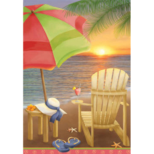 Beach At Sunset Brilliance Garden Flag