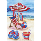 Patriotic Beach Illuminated Garden Flag