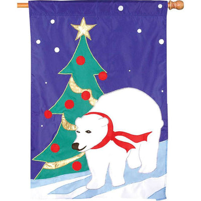 Winter Stroll Appliqued House Flag