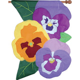 Spring Pansies Double Appliqued House Flag