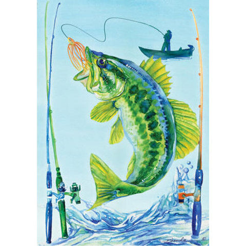 Bass Fishing Illuminated Garden Flag