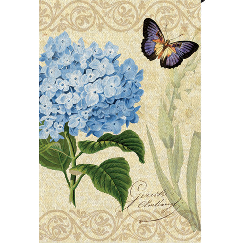 Botanical Fresh Blue Illuminated Garden Flag