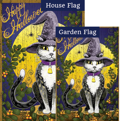 Candy Corn Cat PremierSoft Double Sided Flags Set (2 Pieces)