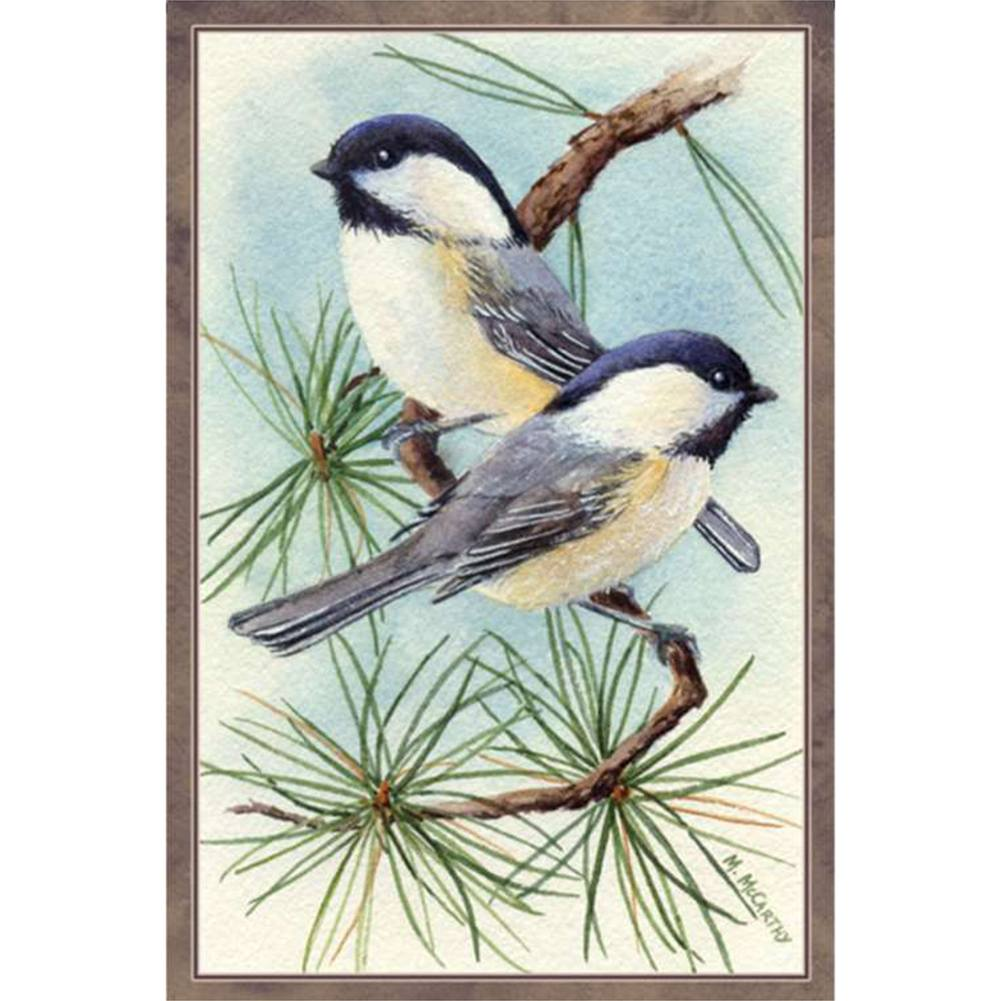 Chickadee Vignette Illuminated Garden Flag