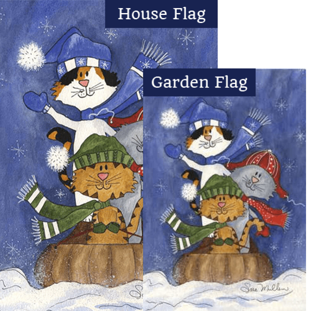 Sledding Friends Illuminated Flags Set (2 Pieces)