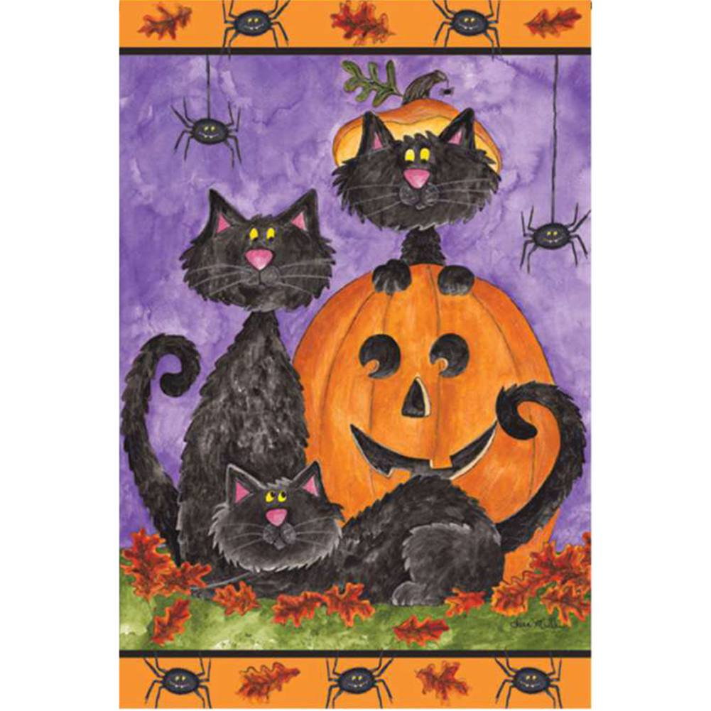 Three Black Cats Brilliance Garden Flag