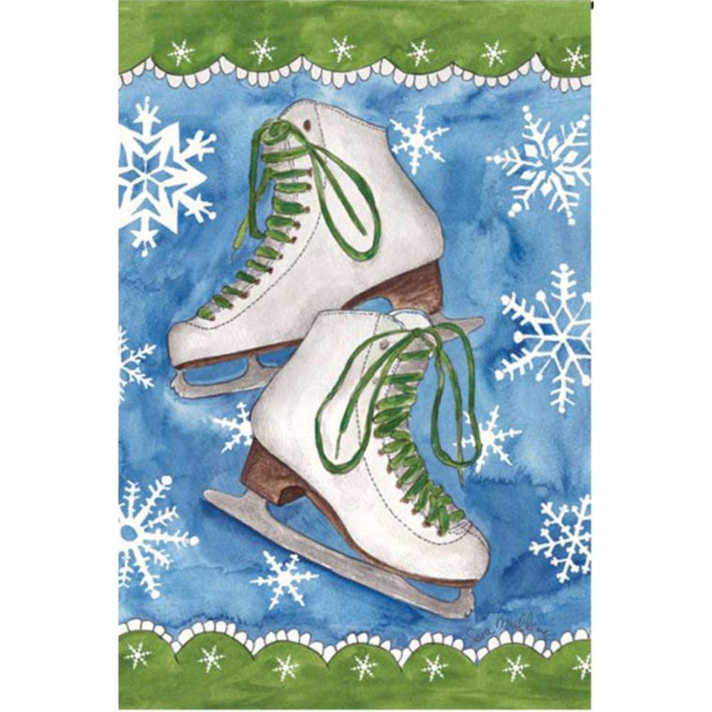 Ice Skates and Snow Illuminated Garden Flag