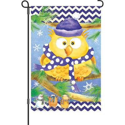 Winter Owl Purple Illuminated Garden Flag